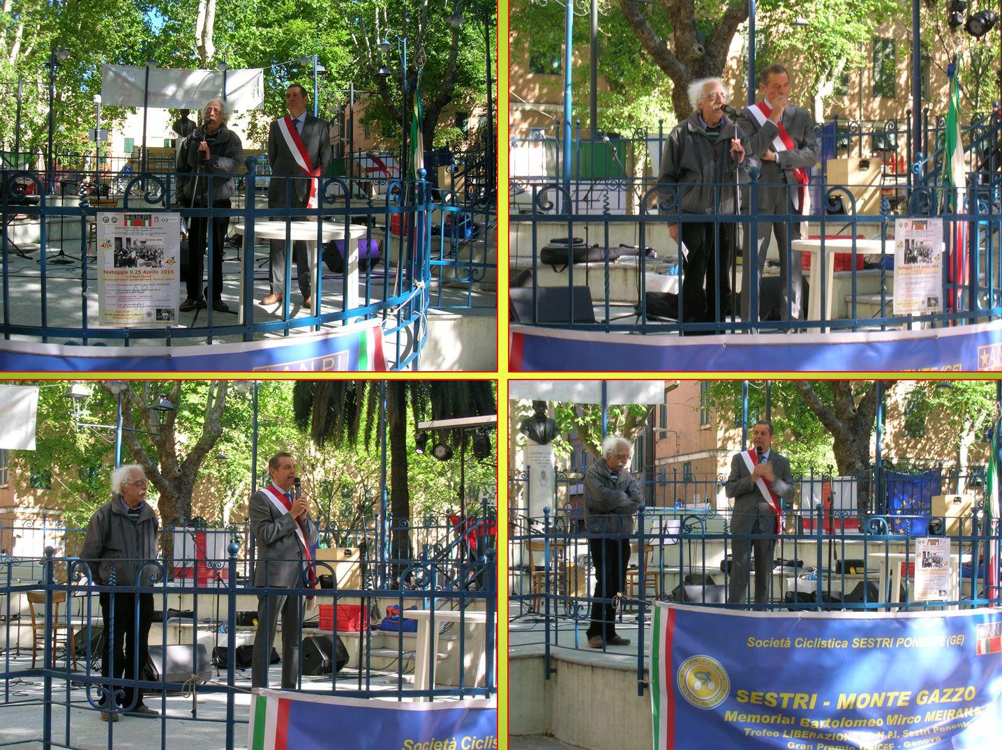 Commemorazione del 25 Aprle con gli interventi del Presidente dell'ANPI di Sestri P. Giancarlo RUSSO e il Presidente del Municipio VI Medioponente Giuseppe SPATOLA