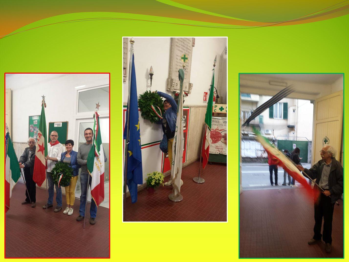 Deposizione delle corone alle lapidi nella Croce Verde, con il Presidente dell'ANPI di Sestri Giancarlo RUSSO