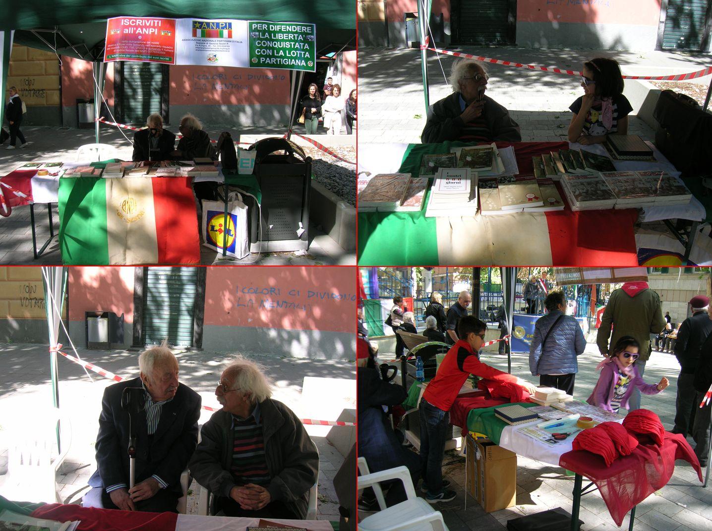 Stand dell'ANPI con il Presidente Giancarlo Russo e il Partigiano  Amedeo Pecci