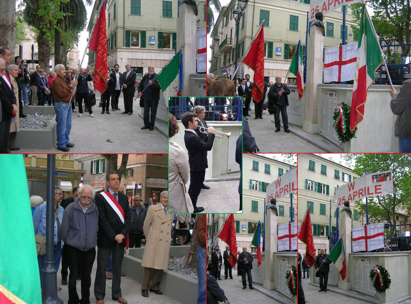 Un momento di particolare commozione, l'omaggio alle lapidi con i nomi di Partigiani caduti, con il trombettiere che suona Silenzio e la Filarmonica  l'Inno Nazionale