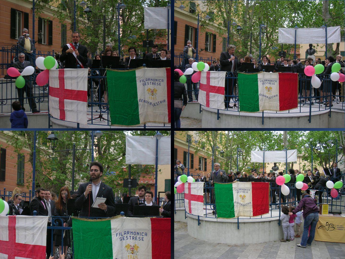 Concerto della Filarmonica Sestrese,  sul nuovo Circolo della Musica di Piazza Tazzoli ristrutturata, in onore dei Partigiani caduti per la libertà.