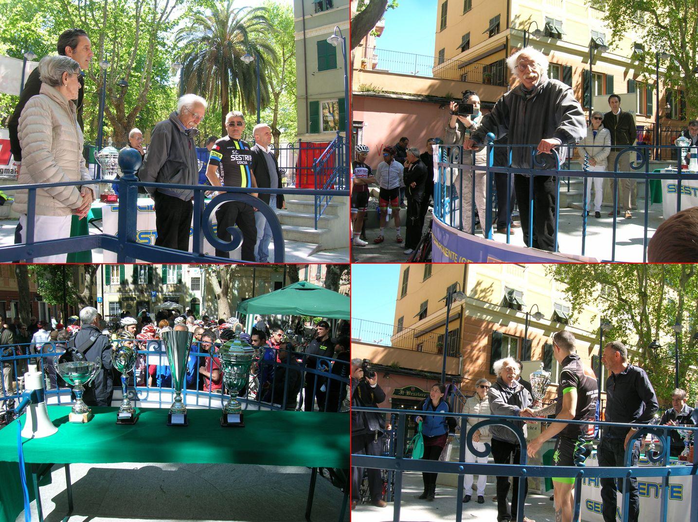 """Il Presidente dell'ANPI Giancarlo Russo consegna il premio al vincitore della gara ciclistica """"Gran Premio LIBERAZIONE"""""""